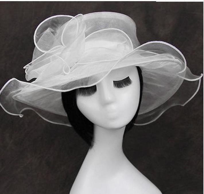 Kadın Organze Şapka Kentucky Derby Düğün Kilisesi Elbise Çay Partisi Çiçek Güneş Yaz Plaj Şapka C889