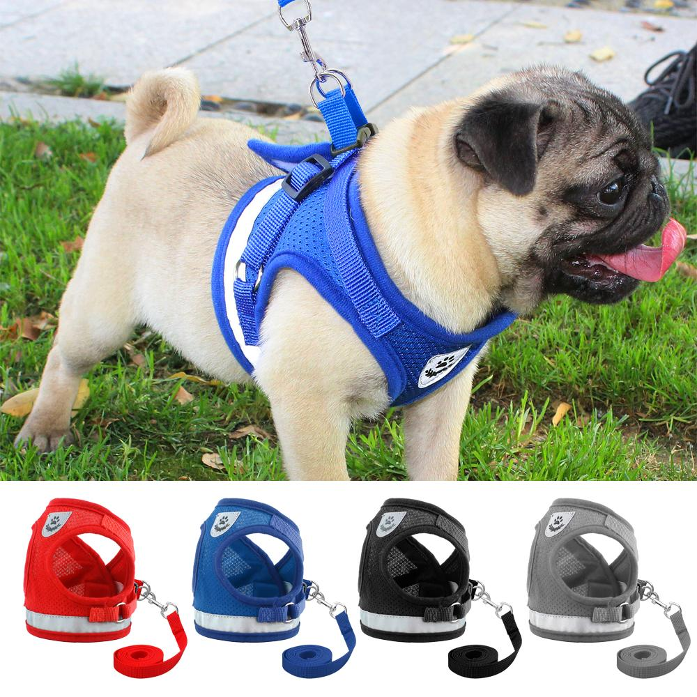 2018 Dog Harness For Chihuahua Pug Small Medium Dogs Nylon Mesh Puppy Cat Harnesses Vest Reflective Walking Lead Leash Petshop From Fifaworldcup Store
