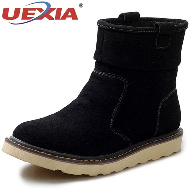 UEXIA Neue Schuhe Männer Stiefel Winter Mit Pelz Warme Schneeschuhe Herren Winter Solide Herren Schuhe Mode Kurze Gummi Ankle Schuhe