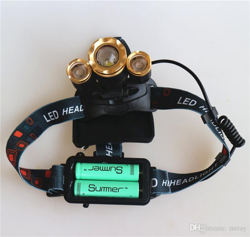 NUEVO 10000lm XML-3xT6 Iluminación para exteriores Recargable con zoom Linterna de faro Linterna ZOOM Luz de faro 18650 Cargador USB para batería