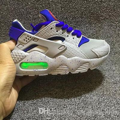 bc289e3b4913 Fashion Flash Lighted Kids Air Huarache Children Running Shoes Infant  Huaraches Outdoor Toddler Athletic Boy Girls Sneaker 26 35 Boys Runners Tennis  Shoes ...