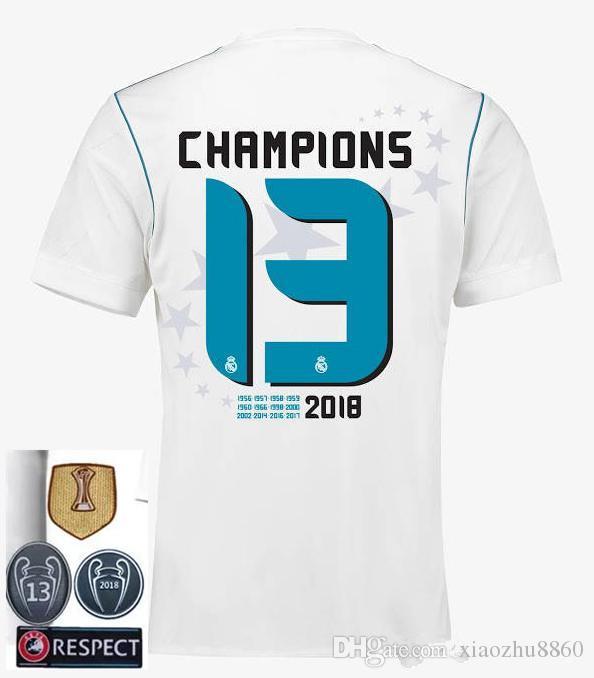 d00ae2a2a9c16 13 Veces Campeones Real Madrid Local Blanco Jersey De Fútbol 17 18 Real  Madrid Camiseta De Fútbol 2018 Ronaldo Bale 13 Campeón Uniformes De Fútbol  Por ...
