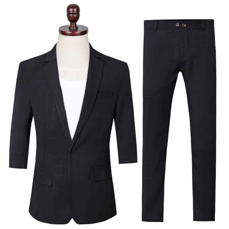8e2720c520 2019 Mens Safari Suit 2018 New Summer Blazer With Ankle Length Pants Slim  Fit Suits Half Sleeve For Men Sets Terno Masculino From Yabsera, $104.78 |  DHgate.