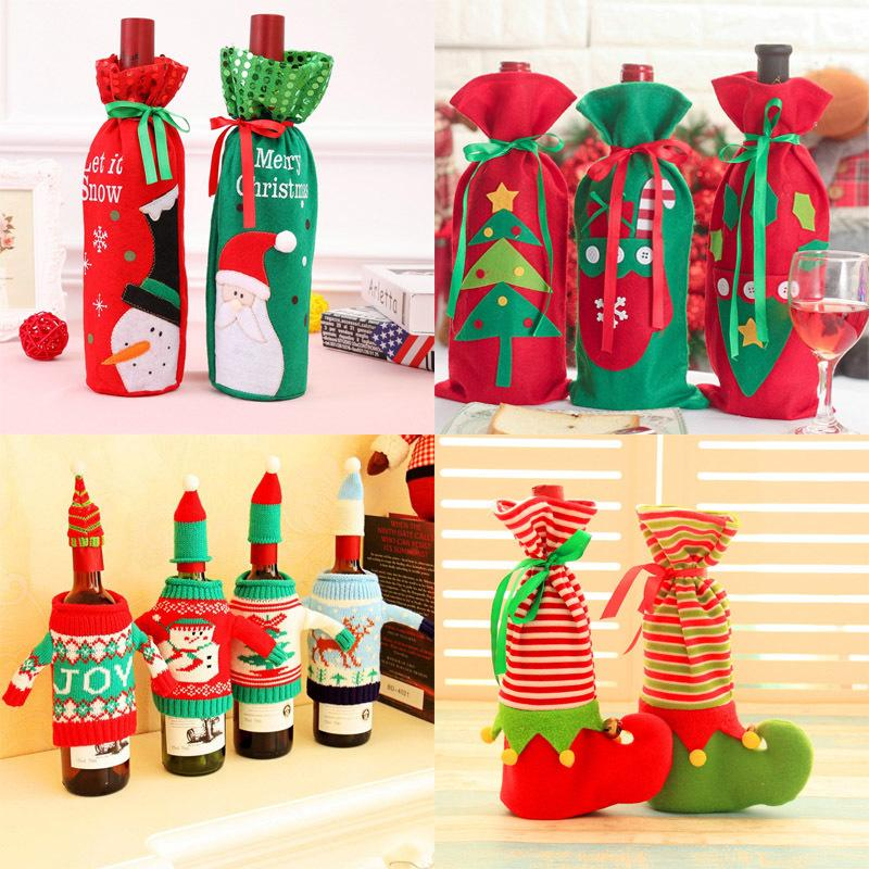 christmas cutlery cover santa claus wine bottle covers bags christmas decorations for home christmas wine bottle decor y18102909 decorative items for