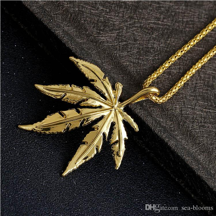 gold necklace chains long shop maple weed pendant hip out iced new silver plated necklacependant leaf necklaces hiphop