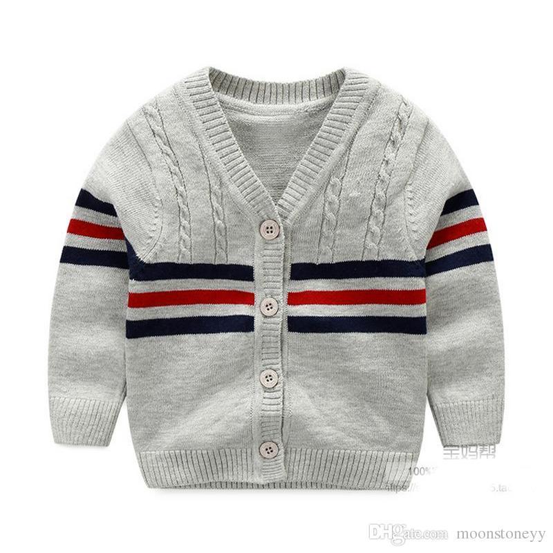 aa08837eefac 100% Cotton Baby Sweater Stripe V Neck Button Cardigan British ...
