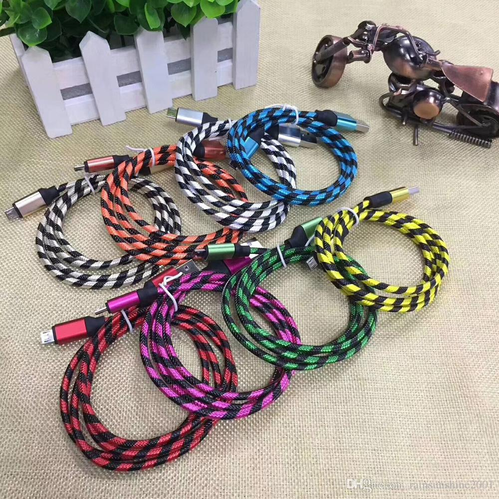 Nylon Braided Micro USB Cable Metal housing 1m woven cord Fiber Fabric Data Charge Cable For Smartphone Cell Phone samsung S6 S7