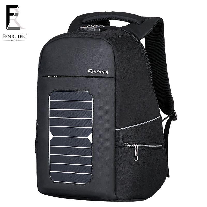 53e000826157 FRN 5.3V Solar Powered Backpack Anti theft Men Women Waterproof Travel  Backpack Laptop Business Usb Charging Daypack w/Lock