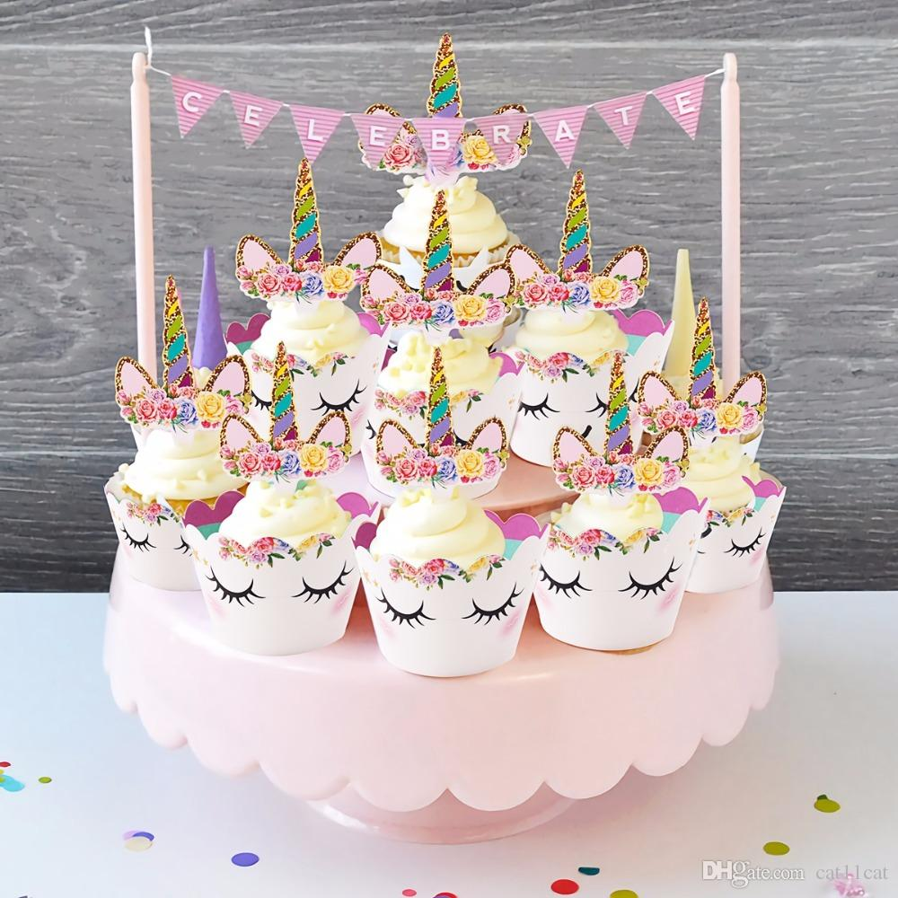 Unicorn Party Decoration Happy Birthday Banner Kids Favors Baby Shower Balloons Cake Topper Supplies For Women