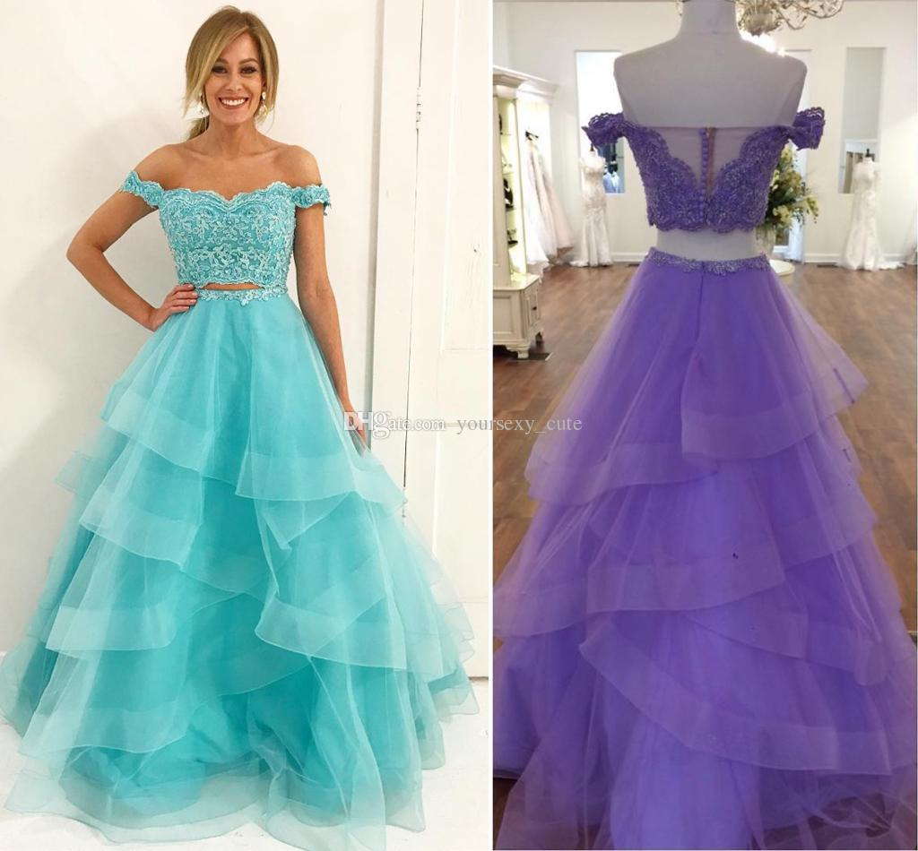 Elegant Two Piece Mint Blue Prom Dresses Off Shoulder Appliques Lace ...