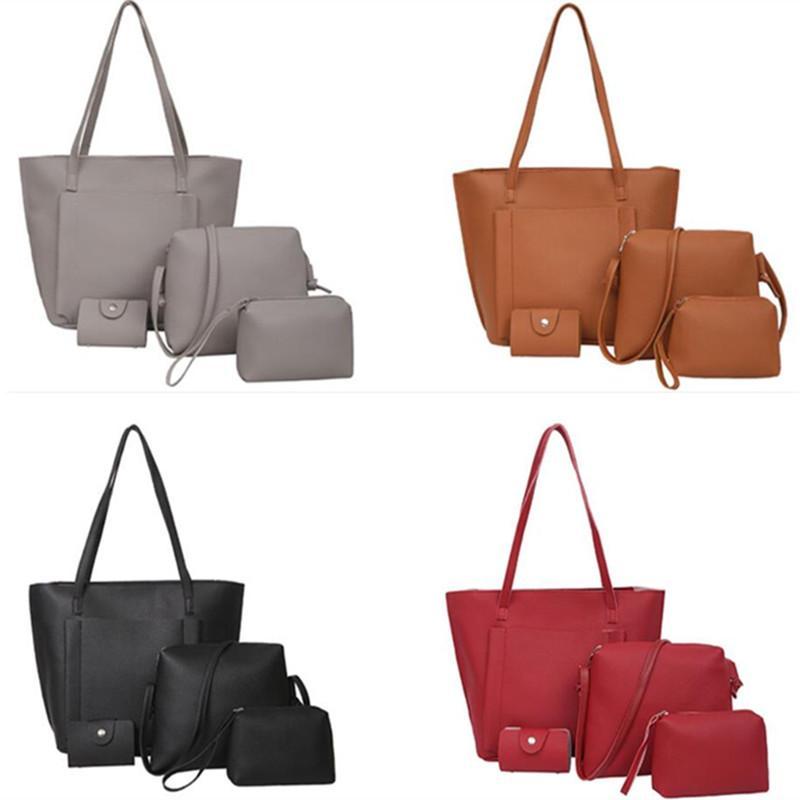 4 Unidades Bolso Mujer Negro Moda Hobos Mujeres Bolsa Señoras Marca Bolsos de cuero Primavera Casual Tote Bag Grandes Bolsos de Hombro Para mujeres