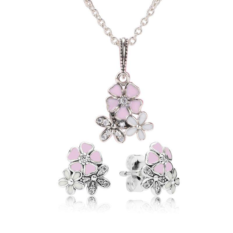 Authentische 925 Sterling Silber Pink Emaille Blume Anhänger Halskette Ohrring Set mit Box für Pandora Jewelry Womens Ohrringe