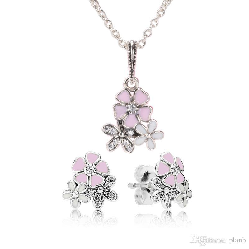 Otantik 925 Gümüş Pembe Emaye çiçek Kolye Kolye Küpe Pandora Takı Bayan Küpe için kutusu ile Set