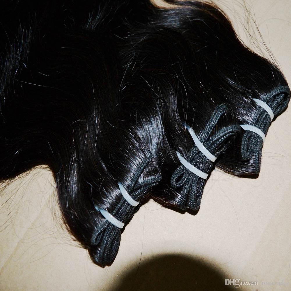 Gaga tratta i capelli ondulati del corpo peruviano elaborati poco costosi capelli migliori 5 pacchi misti lunghezze 50g / piece Trasporto veloce di Fedex