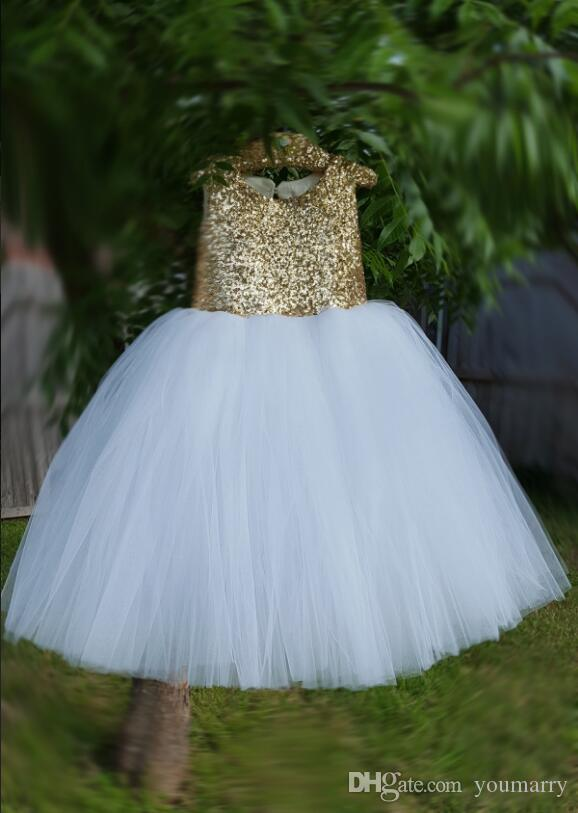 b585dd1a3f 2019 New Design TGold Sequins Top White Skirt Girls Pageant Dresses Ball Gown  Tulle Butterflies Kids Evening Prom Party Gowns Cute Dresses For Girls  Girls ...
