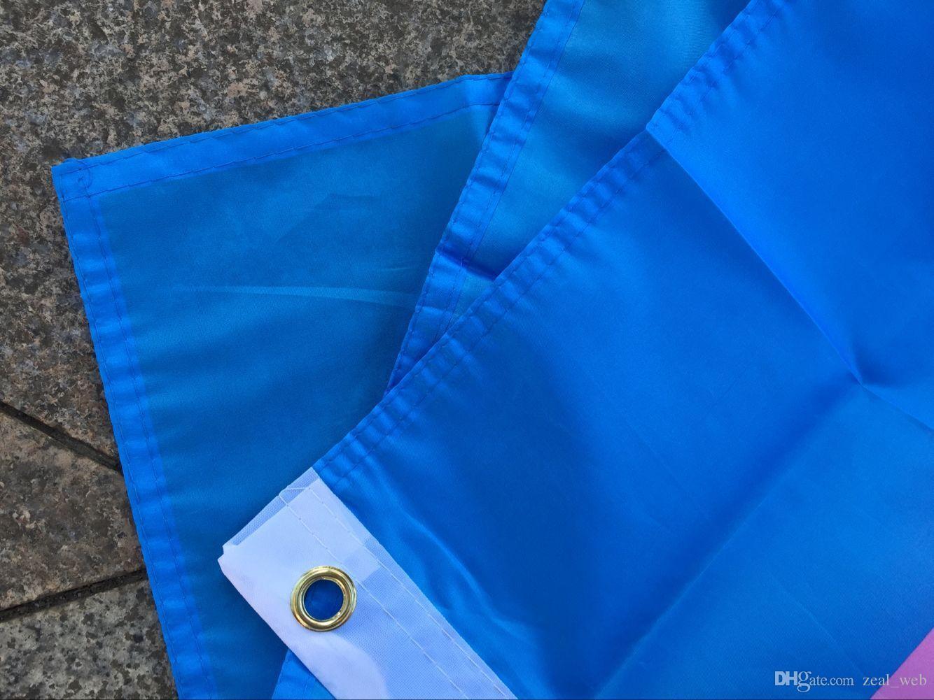 Bandera transgénero de 3x5 pies Banderas rosadas del arco iris azul Banderas de la bandera del orgullo LGBT Encabezado de lona de poliéster y doble costura