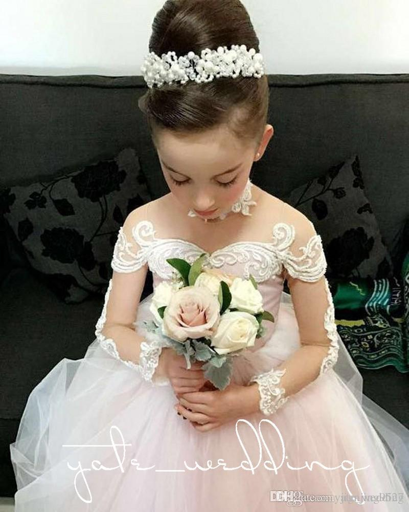 Arrival Pretty Pink Tulle White Appliques Lace Ball Gown Flower Girls Dresses Kids Frock Designs Pageant Gowns