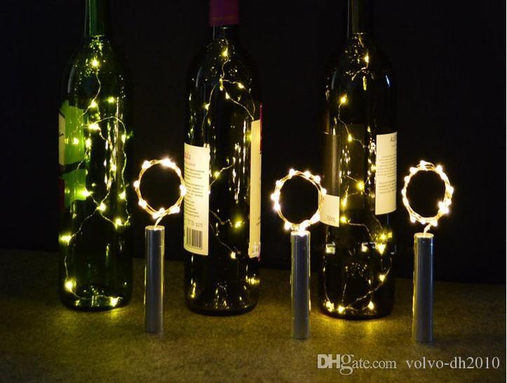 15 LED Battery Placcatura Tappo bottiglia di vino Rame diy Cork Light String Fata Striscia di notte Lampada Decorazione del partito all'aperto LLFA