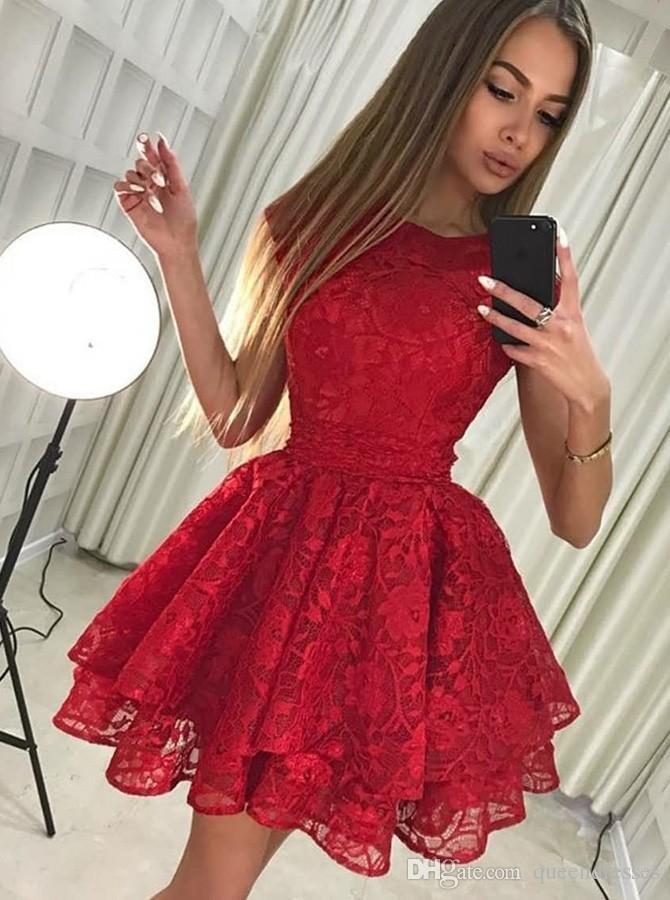 ae2138b3128 Satın Al Zarif Kırmızı Kısa Kokteyl Elbiseleri Dantel Jewel Cap Kollu A  Hattı Mini Abiye Giyim Örgün Tatlı 16 Kızlar Homecoming Parti Elbiseler  Özel