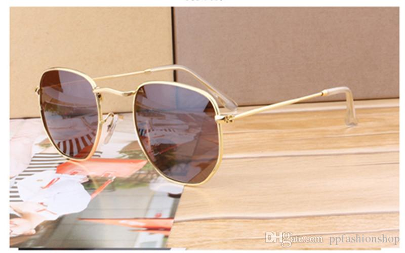 2018 النظارات النساء الرجال العلامة التجارية مصمم الإطار المعدني فريد سداسية عدسة مسطحة طلاء uv400 نظارات الشمس حملق