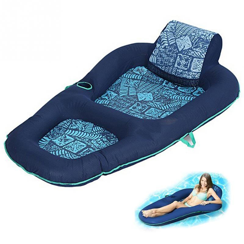Синий надувной плавающий ряд плавательный досуг взрослых плавающий стул пляж купание плавать воздушные колодки ПВХ Надувная кровать