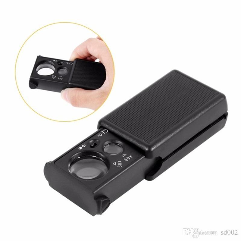 30X 60X Lente di ingrandimento LED Valutazione dei gioielli Lente di ingrandimento alta Lettura portatile Vetro di alta qualità 2xx C R
