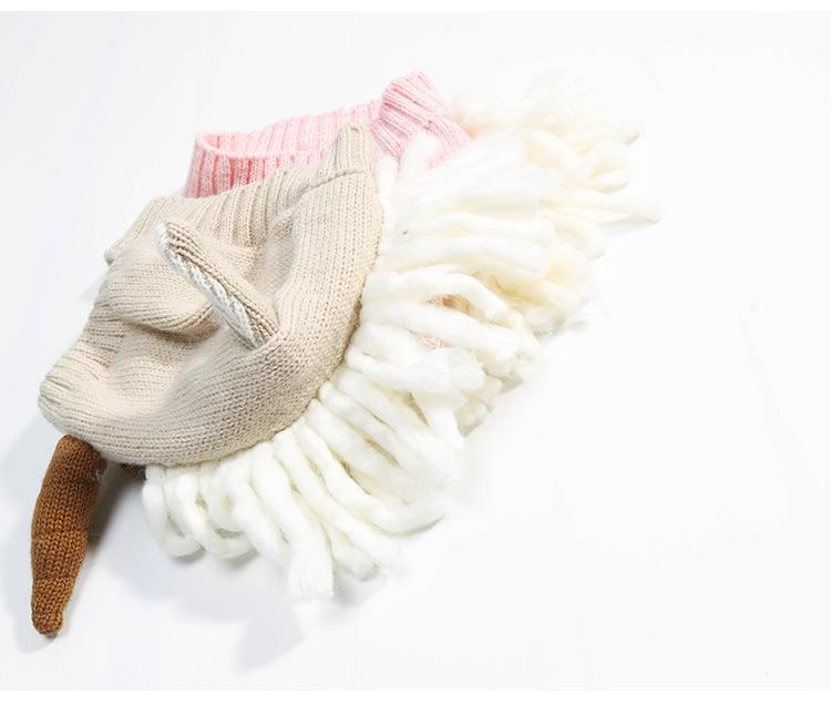 Everweekend Lovely Kids Tassel Sweater Hats Cute Baby Pink and Beige Color Clothes Sweet Children Western Fashion Cartoon Knitted Hats