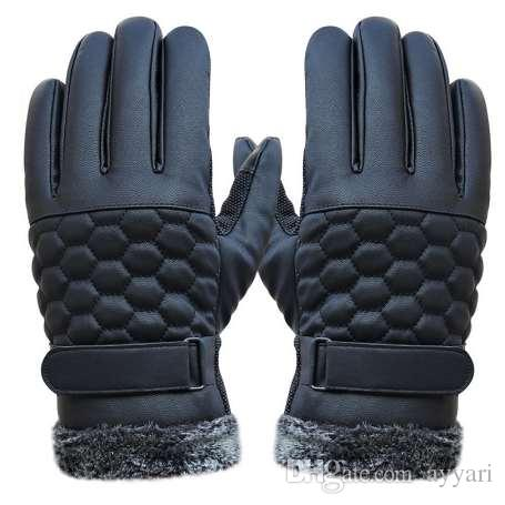 Winter Mens Long Leather Gloves For Touchscreen Faux Fur Heated Touch Gloves Hand Warmer Workout Tactical Cashmere Mittens