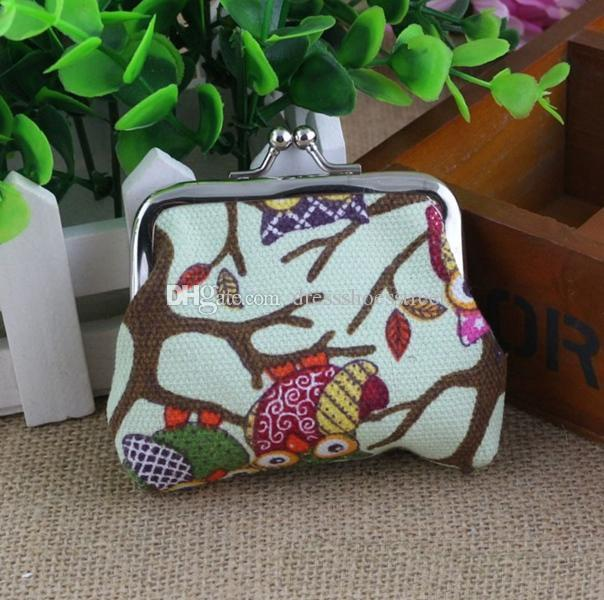 Multi-color owl design coin money bag purse wallet canvas for women girl lady gift lady change purse women smart wallets