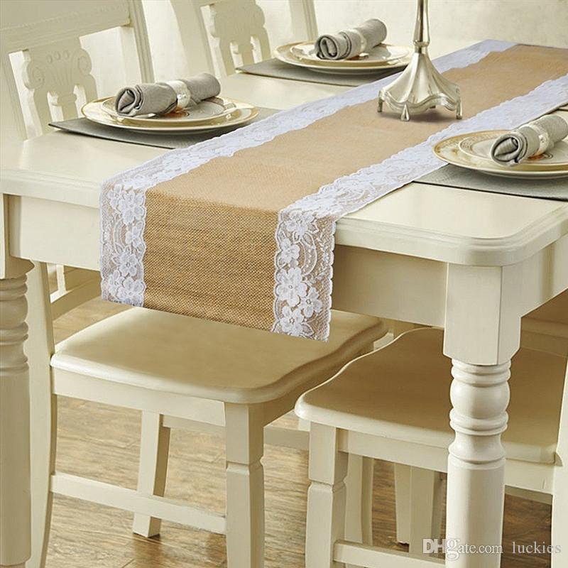12 x 108 inches Burlap Lace Hessian Table Runner Jute Chair Sashes Country Outdoor Wedding Party Décor 4 Color 0183