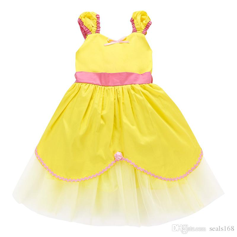 a7deb4e41 DHL Kids Yellow Cosplay Costume Princess Dress Baby Gilrs Birthday ...