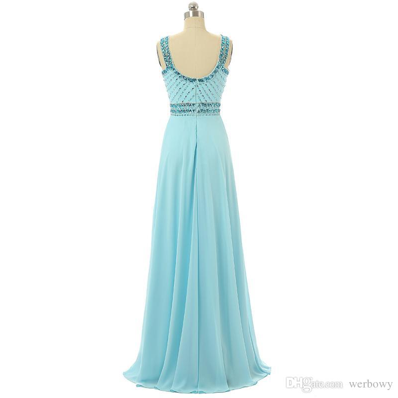 2019 A-Line Seksi Mavi Şifon Kokteyl Elbiseleri Abiye Tasarım Elmas Yaka Gelinlik Modelleri Malzeme Fiziksel Resimler HY1477