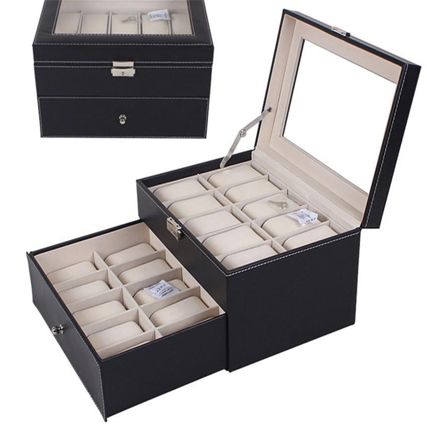 Hot Sale Fabulous 20 Slot Watch Box Leather Display Case Organizer Top Glass Jewelry Storage Black Wholesale Dec02