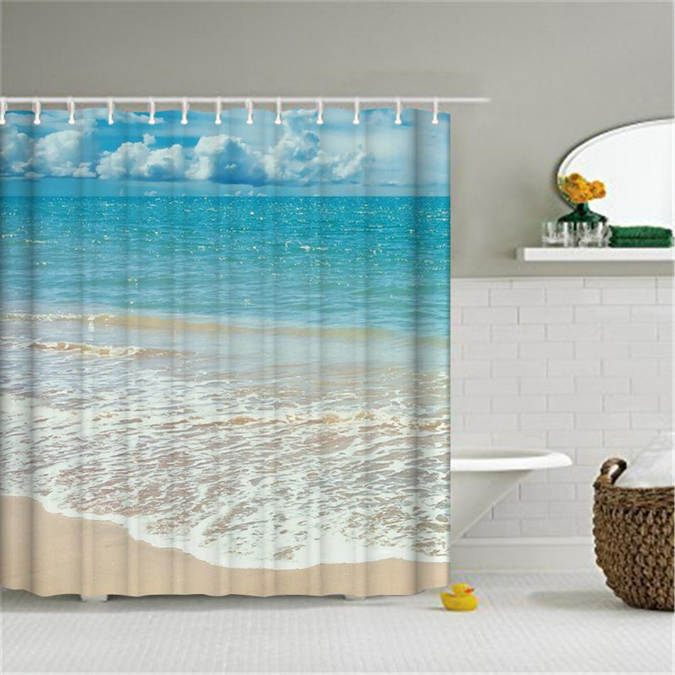 2018 Wholesale Polyester Mildew Resistant Waterproof Bath Curtain Summer Sunshine Beach Blue Seascape Shower With Hooks Bathroom Decor From Hibooth