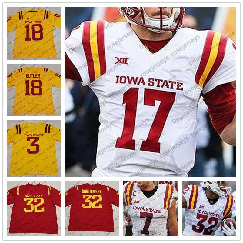 f02c88cdc Compre ISU Iowa State Cyclones   25 Sheldon Croney Jr. 14 Tarique Milton 23  Matthew Eaton 8 Deshaunte Jones Rojo Amarillo Blanco Camiseta De Fútbol ...