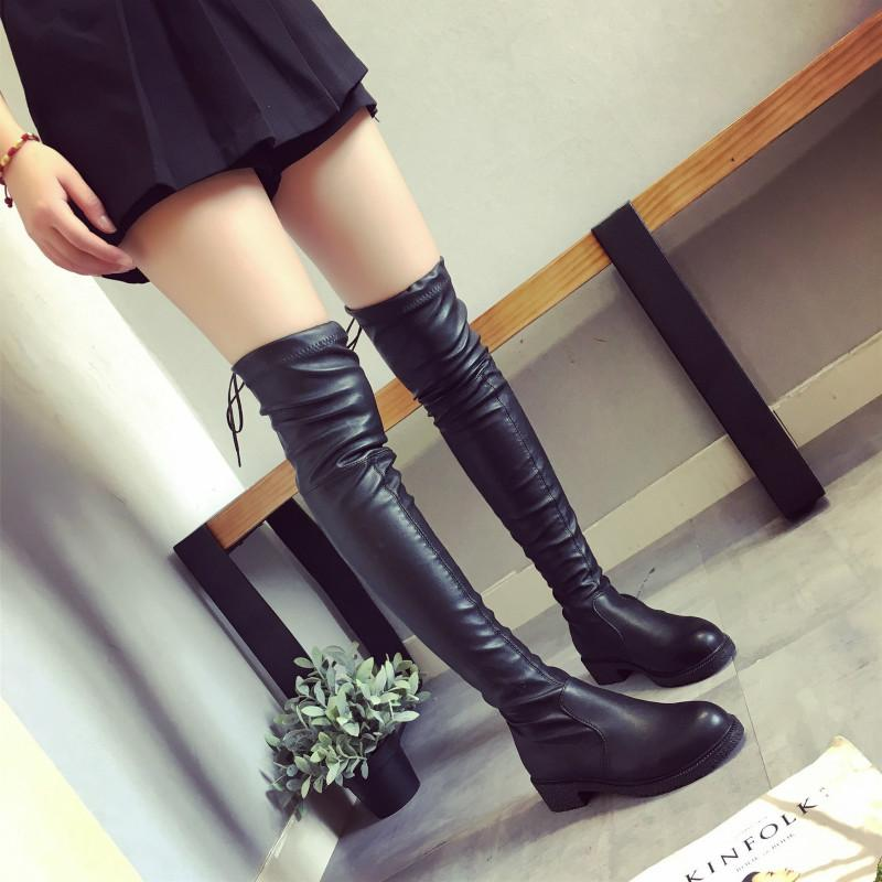 5a4a84d86aed 2018 Fashion Women Snow Boots Autumn Winter Ladies Fashion Flat Bottom  Boots Shoes Over The Knee Thigh High Suede Long Fur Boots Black Knee High  Boots From ...