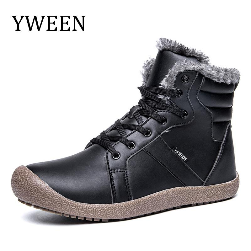 YWEEN Brand Men S Waterproof Boots Warm Plush Leather Boots Men Antiskid  Ankle Shoes With Size 36 48 Mens Leather Boots Grey Boots From Lbdshoes b7738f0ca
