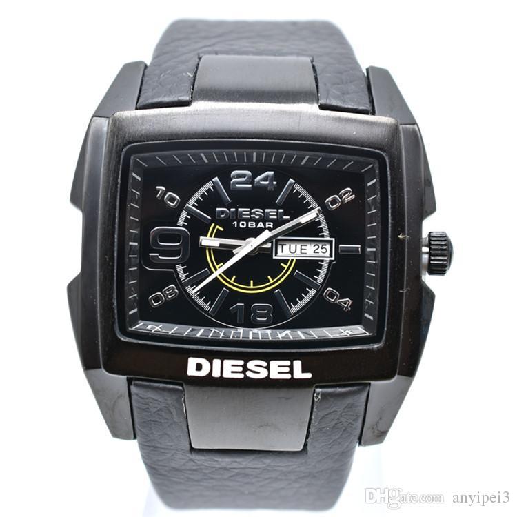 259a4b78955 Compre Nova Alta Qualidade 50mm DZ Relógios Homens Marca De Luxo Big Dial  Relógios De Couro Relógio De Moda De Quartzo 3ATM Vestido Impermeável  Relógios ...