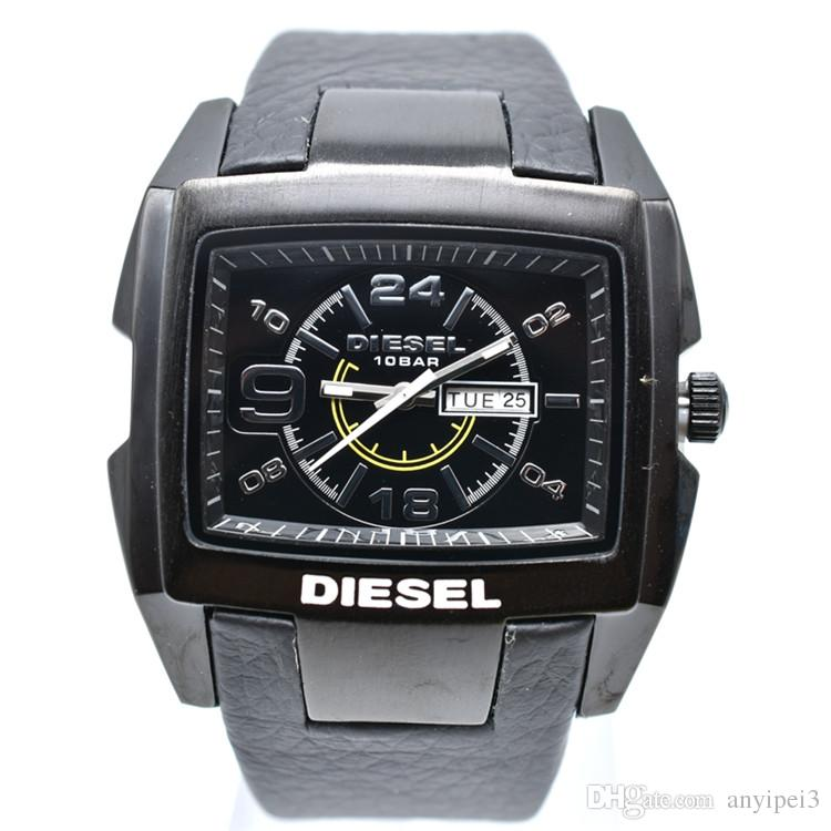 2dd8906e952c Compre Nueva Alta Calidad 50mm DZ Relojes Hombres Marca De Lujo Big Dial  Cuero Relojes Moda Reloj De Cuarzo 3ATM Impermeable Vestido Relojes Hombres  De Lujo ...