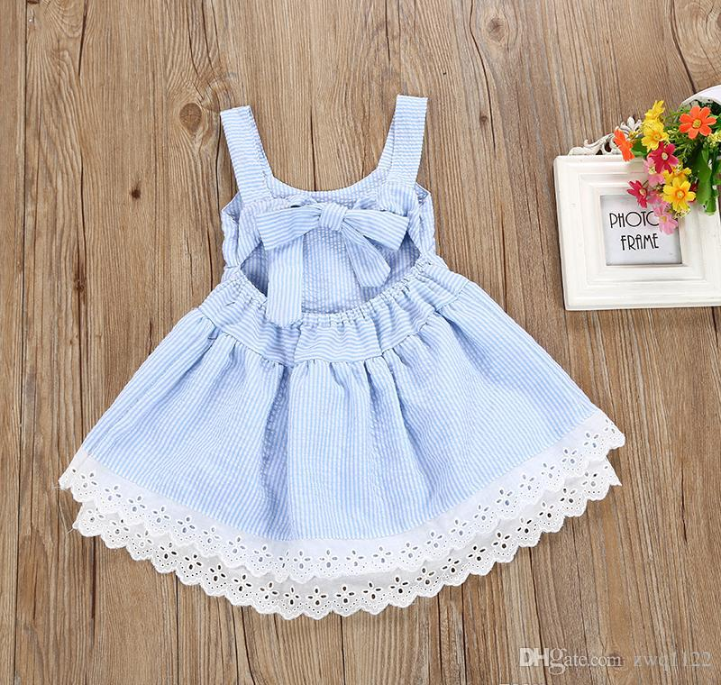 2018 Baby Girl Summer Dress Children Blue Striped Backless Bowknot Princess Dress Kids Fashion Lace Flower Cotton Frocks