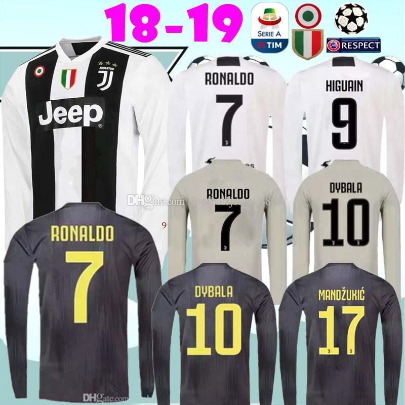 online retailer dbdeb 5929d 2019 RONALDO Juventus long sleeve soccer jersey football shirt MANDZUKIC  Camiseta 18 19 DYBALA HIGUAIN maillot de football jersey