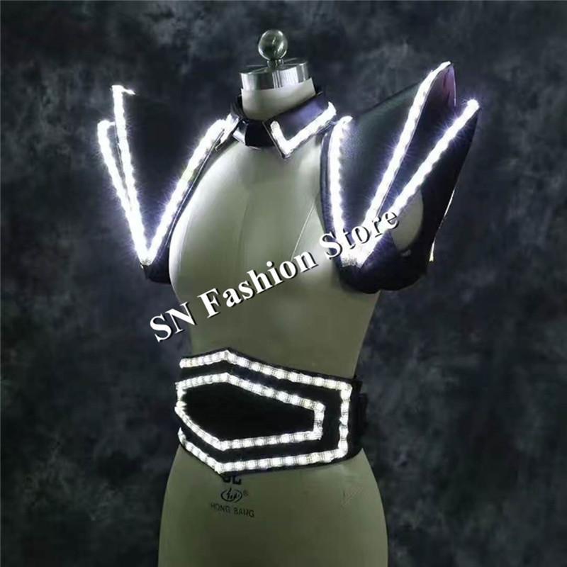 Lz21 белый светодиодный костюм светодиодный свет жилет световой жилет женщин платье сценическое шоу носит одежду подиум модели DJ певец клуб робот КТВ костюмы