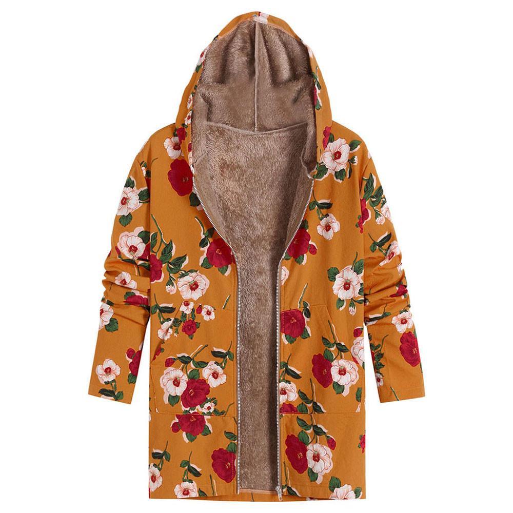 huge selection of 5c498 b8f38 Giacche invernali donna outwear Caldi moda donna top Donna con stampa  floreale tasche con cappuccio vintage oversize cappotti mujer