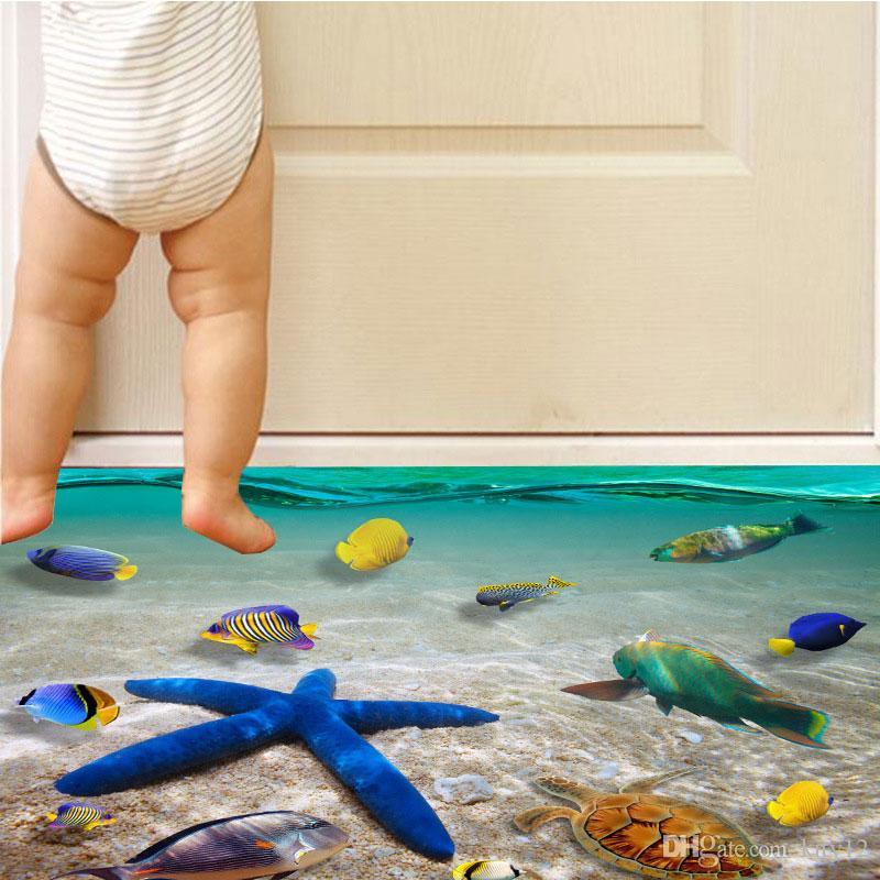 2 styles creative 3d wall stickers starfish footprint beach bathroom