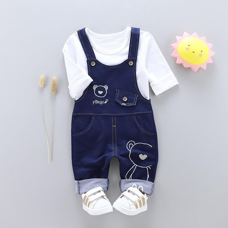 697976077714 Baby Girl Clothes 2018 Autumn New Boy Or Girl Denim Strap Cartoon ...