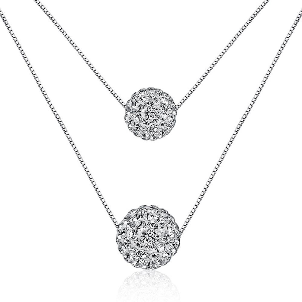 Fashion Double Zircon Ball Pendant Necklace Short simple clavicle chain necklace for women girl wedding jewelry gifts
