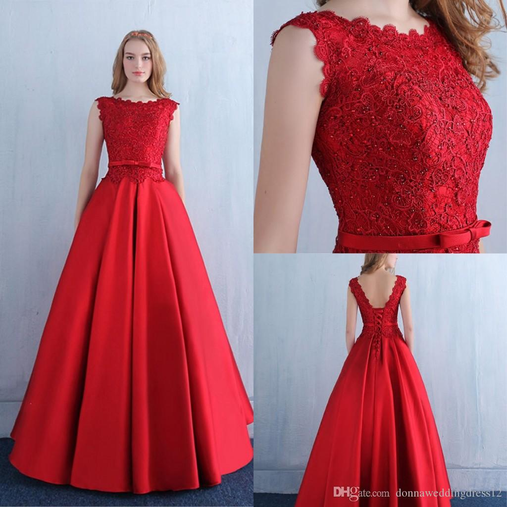 83625c5b5b0 Sexy Fashion Fancy Straps Bowknot Red Lace Satin A Line Prom Dresses 2018  Robe De Soiree Elegant Lace Up Long Evening Gowns Formal Party Ball Gown  Prom ...