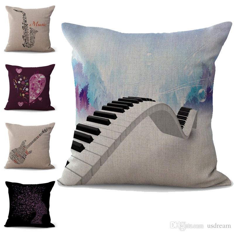 25946d9ff9b Musical Instrument Guitar Violin Note Pattern Pillow Case Cushion Cover  Linen Cotton Throw Square Pillowcase Cover Decor Drop Ship 300741 Sham Pillow  Case ...