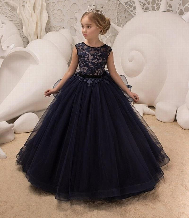 402a5a5dd Navy Blue Formal Flower Girl Dress For Birthday Wedding Party Bridesmaid  Holiday Lace Princess Gown Xk75 Ivory Dresses Long Dresses For Girls From  Feliru