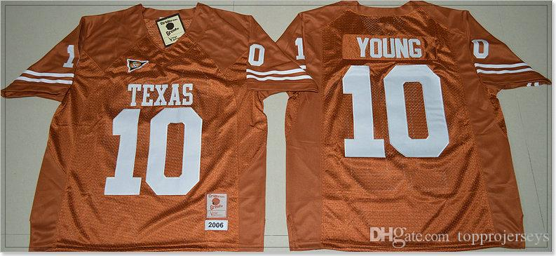 Texas Longhorns Vintage #7 Shane Buechele 10 Vince Young Mens College American Football Sports Shirts Pro team Jerseys Stitched Embroidery